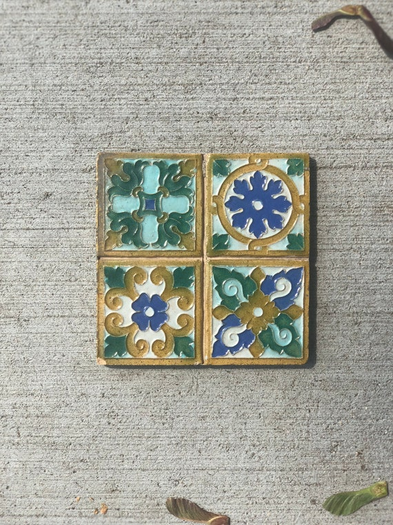 Antique Spanish Tile Authentic Hand Carved Hand Painted Tile Decor