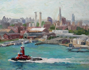 Original Oil Painting, Tugboat, Brooklyn, New York, Seascape
