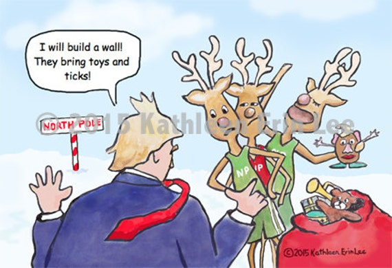 Image of: Cartoonist Image The English Blog Trump Christmas Card Donald Trump Cartoon Will Build Etsy