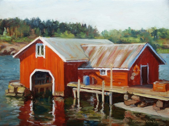 Kokar Boathouse Original Oil Painting Seascape Etsy