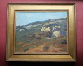 Paros Ruins, Original Oil Paining, framed