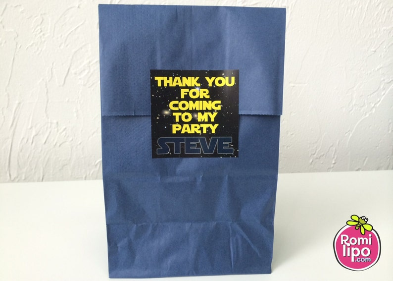 Set of 24 2.5 x 2.5 thank you for coming cards or stickers star wars personlized favor tag gift enclosures Star Wars party favor tags