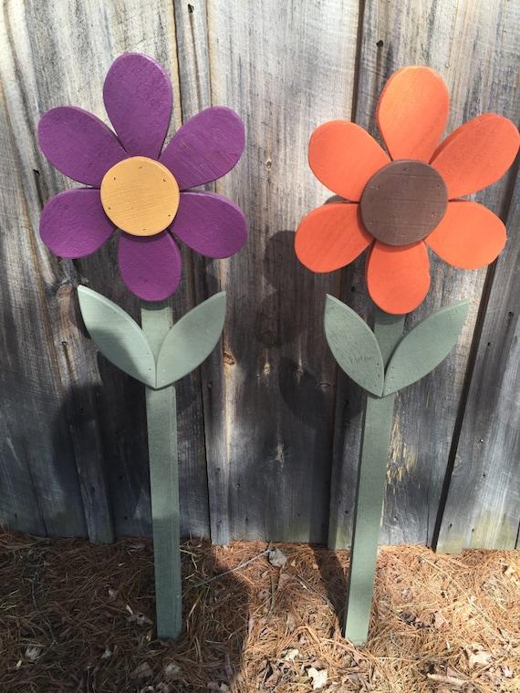 Flowers Spring Summer Fall Yard Decorations Wood Flower On Etsy