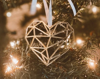 Geometric Color Block Heart Christmas Ornament-Laser Cut 2019 Holiday Ornament,Newlyweds, cool ornament, Modern Ornament,Gift under 10