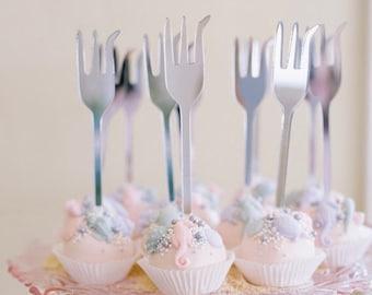 Dinglehopper inspired Cake pop sticks,fork stir sticks,Drink Stirrer,Swizzle,Bar,Mermaid birthday decor,underwater themed,brunch,6 Pack