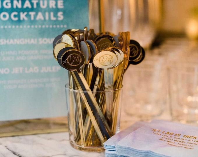 Featured listing image: Custom logo Acrylic Stirrers,Wedding Decor,Drink Stirrers, Monogram Decor, Swizzle Sticks, Gold Stir Sticks, Gold Wedding Decor, 50 Pk