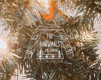 Custom Mr and Mrs Ugly Sweater Christmas Ornament-Laser Cut Personalized 2019 Holiday Ornament,Narwhal ornament,funny gift,Ornament