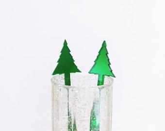 Christmas Tree Drink Stirrer,Pine Tree,Holiday Cocktail,Stirrer,Stir Sticks,Swizzle Stick,Holiday Decor,Hostess Gift,Xmas Party, 50 pack