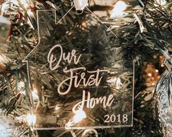 Our First Home Ornament, First Christmas in New Home Ornament, New Home Housewarming Gift, Personalized Christmas Ornaments