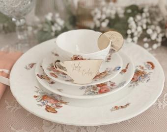 Tea Cup Place Card, Tea for Two, tea party, birthday, bridal shower, princess theme, garden party, Bridgeton theme, royal, personalized