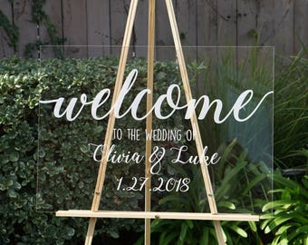 Clear Wedding Welcome Sign, Wedding Signs, Personalized Sign Modern Wedding Decoration Sign Clear Acrylic Welcome Sign