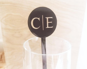 Initial Swizzle Sticks, Modern Wedding decor,Drink Stirrer,Perfect Weddings,Bridal Shower,Wedding,Stir Sticks,Monogram,Laser Cut, 50 Pack