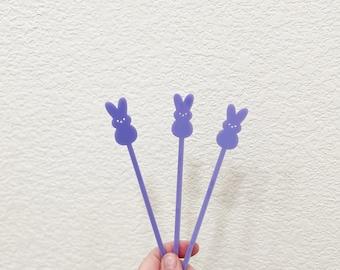 Peeps inspired Easter stir sticks,Bunny,Drink Stirrer,rabbit,Swizzle Sticks,Cocktail Sticks,Bar,Easter,barcart,brunch,tea party,birthday,50