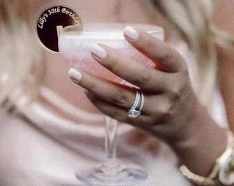 "Stemless cocktail sticks,Custom drink tags,drink hangs,Stirrers Custom Etched,Acrylic Stirrer,Laser Cut Wedding Decor, party decor,2"""