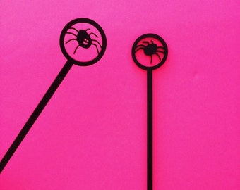 Spider Drink Stirrers, Halloween,Party Favors, Acrylic Stirrers, Gothic,Halloween Party,Halloween Decorations, Swizzle Sticks,Laser Cut,6 Pk