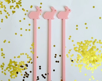 Bunny,Drink Stirrer,rabbit,Swizzle Sticks, Cocktail Sticks,Bar Decor,Easter decorations,barcart,Whimsical Decor,Girls birthday Party, 6 Pack