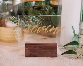 Table numbers and wood stands,wedding table numbers,gold,pink,acrylic table numbers,wedding sign,acrylic wedding signs,wedding signs,acrylic