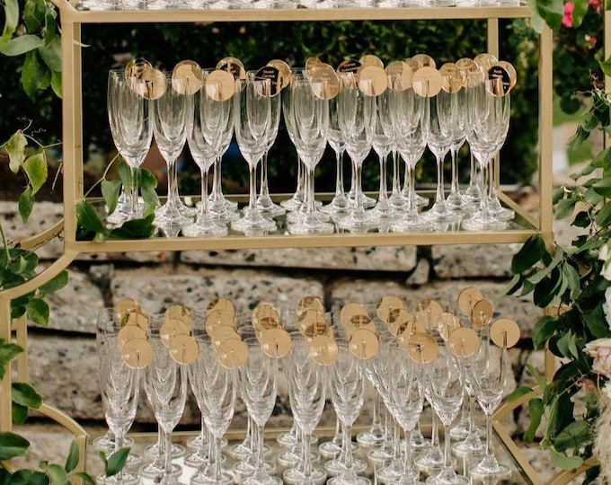Featured listing image: Escort display,Acrylic Custom Name tags,champagne wall,Personalized Drink charm, Place Setting, Engraved Place Card,Acrylic Place Cards