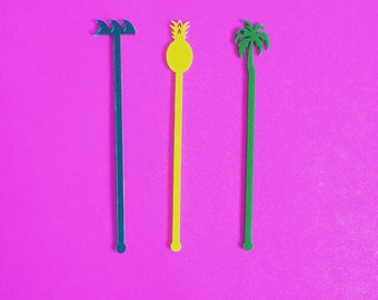 Palm Tree, Drink Stirrer, Perfect Weddings, Wedding Shower, Tropical, Swizzle Sticks, Party, Summer, Acrylic, Laser Cut, Bar Decor, 50 Pack