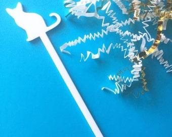 Cat Drink Stirrer,Stir Sticks,Swizzle Sticks,Cat lovers,Gift Ideas,Kitty,Meow,Cocktail Stick,Wedding,Hostess,Party Decor,Christmas Gift, 6Pk
