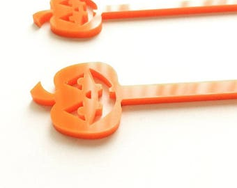 Pumpkin Drink Stirrers, Halloween,Party Favors, Acrylic Stirrers, Halloween Party, Halloween Decorations, Swizzle Sticks,Laser Cut,6 Pk