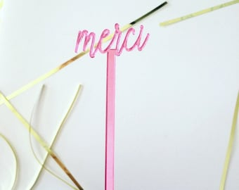 Merci stirrer,French decor,swizzle Sticks,Drink Stirrer,Cocktail Sticks,Birthday,Party Decor,Bridal Shower,French theme,Stir Sticks, 4 Pk