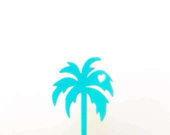 Palm Tree Appetizer Picks, Cupcake Toppers, Palm Trees, Cupcakes, Bridal Shower Decor, Tropical Party, Acrylic, Laser Cut, 4 Ct.