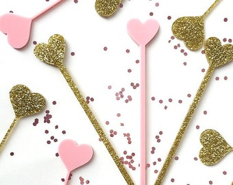 Heart Swizzle Sticks,Love,Drink Stirrer, Perfect Weddings, Bridal Shower, Engagement Party, Stir Sticks, Bachelorette,Laser Cut, 50 Pk