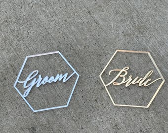 """Bride and Groom Geometric Signs 4"""" x 3""""