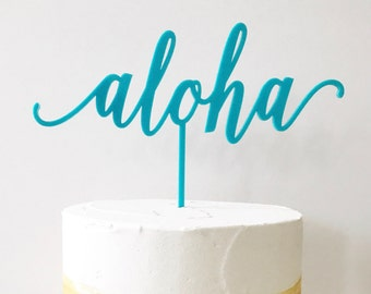 "Aloha Cake Topper, Tropical Wedding, 9 "", Bridal Shower Cake Topper, Birthday Cake Topper, Cake Topper, Laser Cut, Acrylic,Gold,Aqua,1 count"