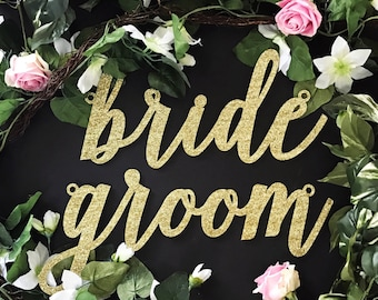 """Bride & Groom Laser Cut Chair Signs, (Set of TWO) 13"""" x 6"""" Custom Bride Groom Seat Sign,Gold Wedding Decor Signs,Wood Sign,Acrylic Sign"""