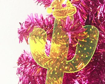 Cactus Ornament,Cactus Santa,Perfect Holidays,Palm Springs,Cactus,Christmas Decor,Santa,Tropical,Party,Summer,Winter,Acrylic,Laser Cut