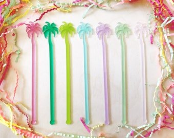 Summer Pastel Drink Stirrers,Palm Tree,Pineapple Drink Stirrer,Wedding Shower,Flamingo,Tropical,Swizzle Sticks,monstera,Cactus,Summer,7 Pack