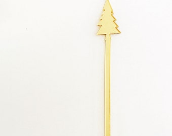 Christmas Tree Holiday Cocktail Drink Stirrers, Stir Sticks, Bar, Swizzle Sticks, Holiday Decor, Hostess Gift, Laser Cut, Acrylic, 6 Count