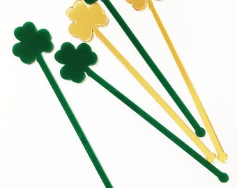 Four leaf clover Drink Stirrer,St patty's day stir stick,bar,swizzle Sticks,Drink Stirrers,Cocktail Stick,Irish,Weddings,wedding gift,6Pk