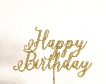 Happy Birthday Cake Topper   First Birthday Topper   Baby Girl Birthday   Baby Boy Birthday   Calligraphy Script Cake Topper