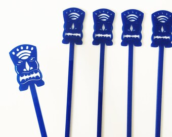 Tiki Drink Stirrer,Aloha,Bar Cart,Bachelorette Party, Tiki cocktail sticks,Tropical Decor,Swizzle Sticks,Acrylic,Laser Cut,Bar Decor,6 Pack