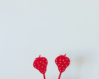 Strawberry Appetizer Picks,Cupcake Toppers,Fruity,Cupcakes,Bridal Shower Decor,Tropical Party,Acrylic, Laser Cut,Drink Decor,bar cart 4 Ct.