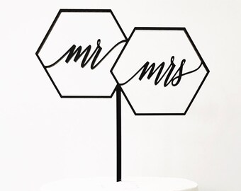"Geometric Mr Mrs Cake Topper 7"" inches, Geo Cake Topper, Wedding Cake Topper, Wedding, Rustic Laser Cut Toppers, Acrylic Cake Topper 1 count"