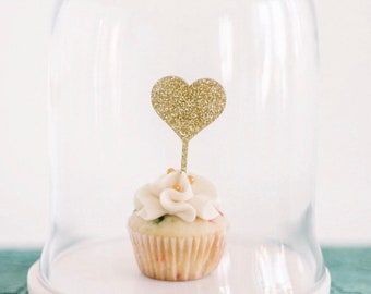 Heart Cupcake Toppers, Wedding topper,Appetizer Picks, Mini Cake Toppers, Bridal Shower Decor,Glitter Toppers,Wedding Decor,Laser Cut, 4 Ct.