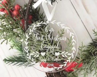 Our First Christmas Engaged Ornament - Personalized Acrylic Ornament,She Said Yes,Engagement Gift, Holiday Engagement,Mr. and Mrs. Rose Gold