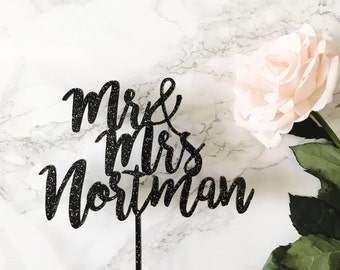 Custom Wedding Cake Topper- Custom Saying Mr & Mrs Calligraphy/Hand-letttered Wedding Cake Topper for Wedding or Anniversary