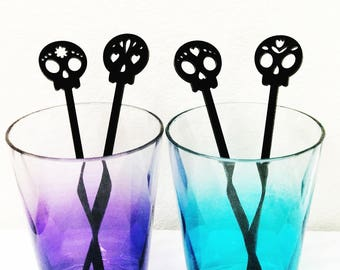 Day of the Dead,los dios de muertos,Sugar Skulls Drink Stirrers,Sugar Skull Stirrers,Halloween,Party Favors,Halloween Decorations,4 Pk