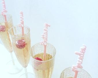 Personalized Drink Stirrers Wedding Cocktail Swizzle Stir Sticks Laser Cut Names