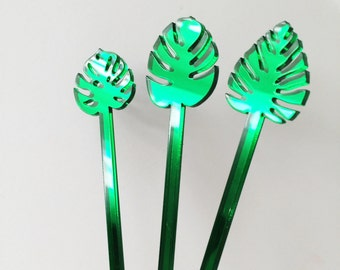 Palm Leaf Drink Stirrer Set,Decor,monstera,Leaves,Fall Leaves,Holiday,Summer Leaves,Tropical,Cocktail Stick,Wedding,Hostess,Party Decor, 6Pk