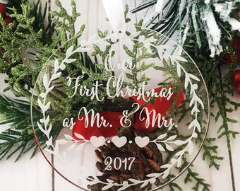 Our First Christmas as Mr and Mrs ornament - Personalized Acrylic Ornament, She Said Yes, Engagement Gift, Holiday Engagement, Mr. and Mrs.