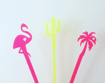 Pool Party Pack,cactus stirrers,cactus wedding decor,desert,flamingo,palm tree,swizzle Sticks,Cocktail Sticks,Weddings,Party Decor,6Pk