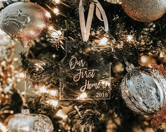 Our First Home 2021,new apt ornament,my new home,2021 ornament,Christmas Ornament | Laser Engraved,Acrylic,Home,Hand Made,Christmas Tree