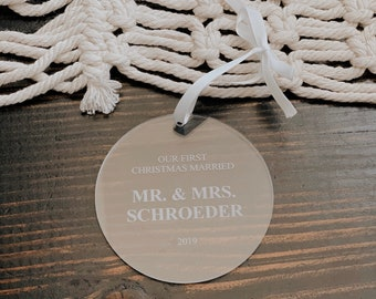 Our First Christmas Married Ornament 2021 Personalized Acrylic Ornament,She Said Yes,Newlywed Gift,Mr. and Mrs.