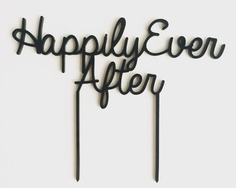 Happily Ever After, Wedding Cake Topper, Cake Topper, Laser Cut, Acrylic, Personalized, Cake Decoration, Rustic Topper